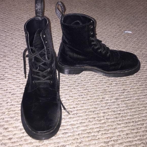 velvet black doc martens