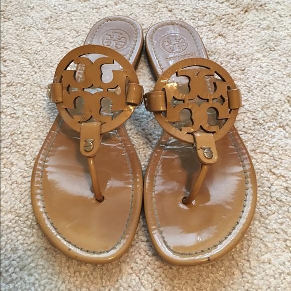 12b5a97e36f Tory Burch patent sand Miller sandals 9.5. M 56ff29eb981829de7308e5e9