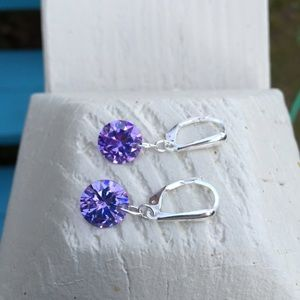 Jewelry - 💜Sparkly Lavender crystal CZ earrings 10mm
