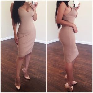 Ribbed Midi Bodycon Dress