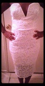 Flattering, Crisp white strapless dress