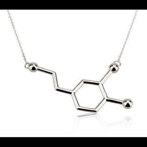 Jewelry - Silver Dopamine Molecule Necklace