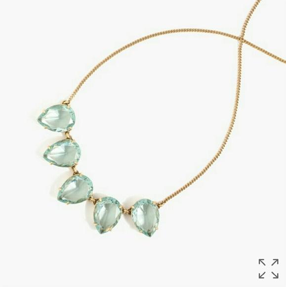 J. Crew Jewelry - J. Crew Misty Green Teardrop Crystal Necklace