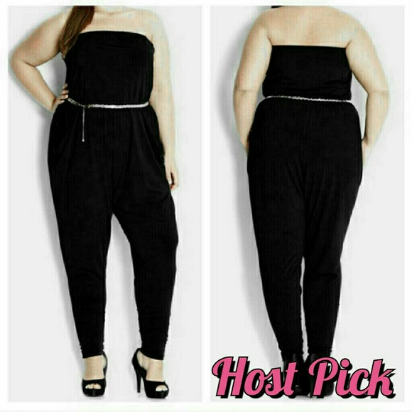 City Chic Pants New Romper Jumpsuit Black Plus Size 16w 1x Xl Belt