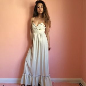 Vintage Rosebud Trim Maxi Dress