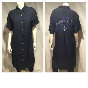 Iceberg  Dresses & Skirts - Vintage 90s Iceberg shirt dress with printed back