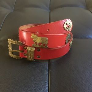 vintage Accessories - ❤️Vintage 60s Swiss red leather and brass belt❤️