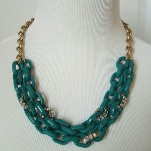 J.Crew teal and rhinestone link necklace