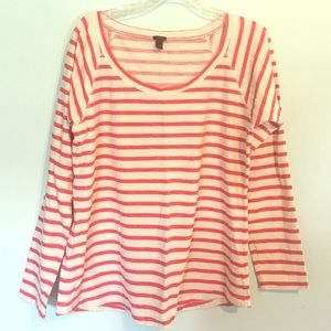 J. CREW Striped Red Long Sleeved Tee