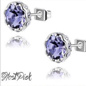 Jewelry - 18k platinum plated purple Austrian Crystal studs