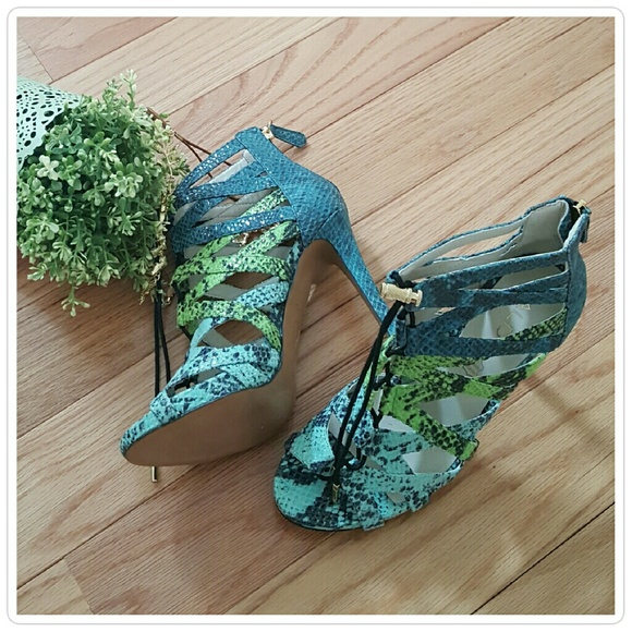 79af0381c6a Aldo Ramiya Snakeskin High Heel Sandals NWOT