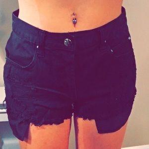 Black Distressed Denim High Waisted Shorts
