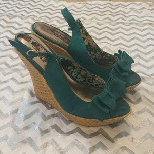 Charlotte Russe Shoes - 👡Adorable Turquoise Wedges With Bow Open Toe👡
