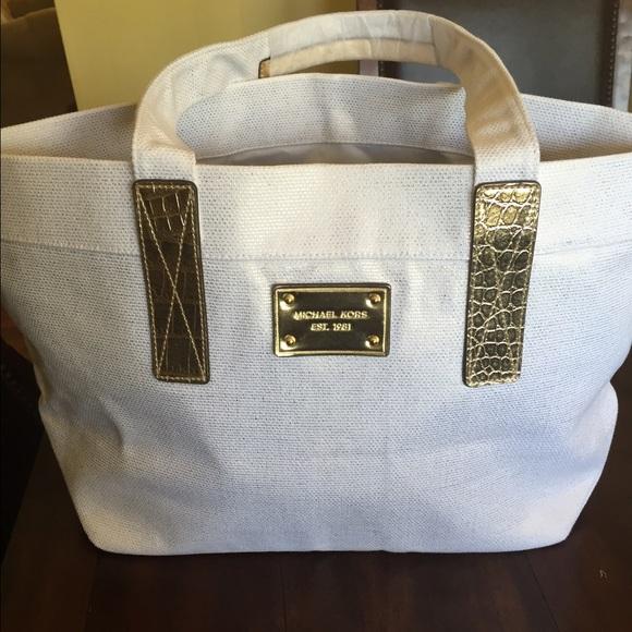 Michael Kors - Michael Kors Cream and Gold Linen Beach Bag from ...