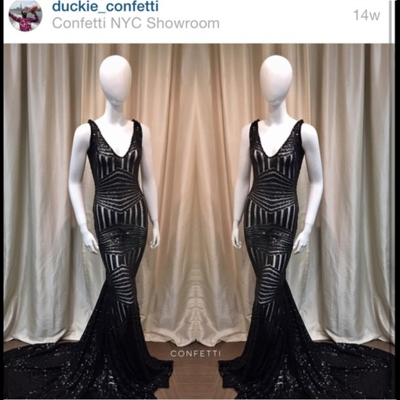 Duckie Confetti Dresses Black Sequin Prom Dress Size 6 Price Is