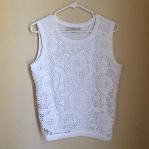 LOFT white lace tank