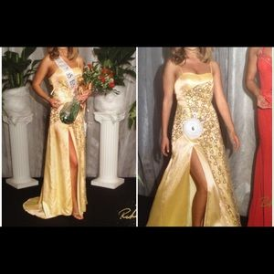 Winning pageant / prom gown, yellow, sz 2