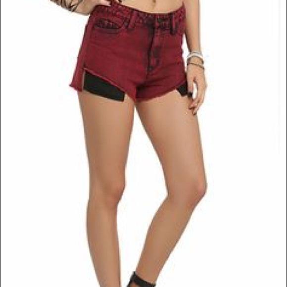 72% off Lovesick Pants - 💀Burgundy acid wash jean shorts from ...