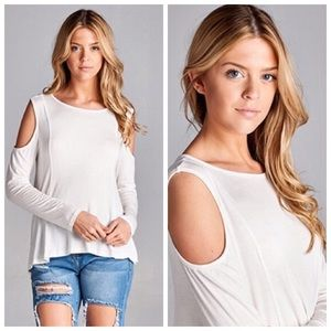 April Spirit Tops - SALE! 🆕Ivory Cold Shoulder Top