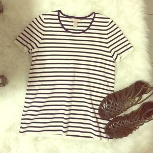 Banana Republic navy and white striped shirt