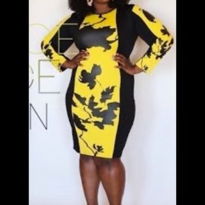 Dresses & Skirts - Bodycon Yellow and Black Dress