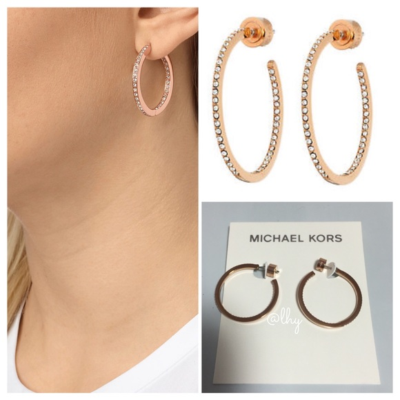 0226b9ccf1ece9 Michael Kors Jewelry | Rose Gold Small Pave Hoop Earrings | Poshmark
