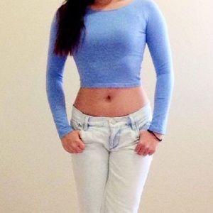 H&M slim fit long sleeve crop top