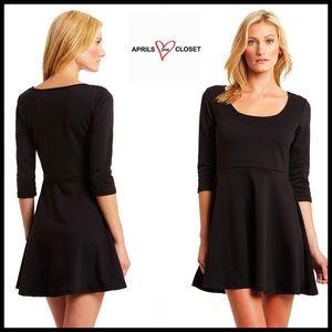 Boutique Dresses & Skirts - ❗️1-HOUR SALE❗️LBD A Line 3/4 Sleeve Skater Dress