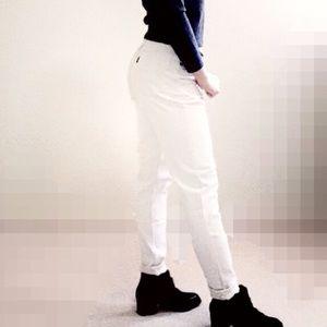 White high rise skinny jeans.