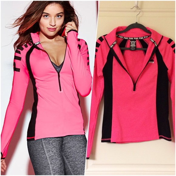 PINK Victoria's Secret - Hot Neon Pink Black Ultimate Deep Zip ...