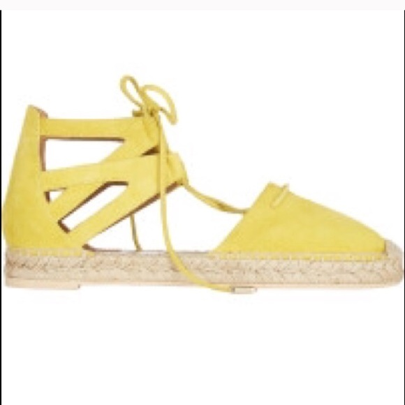 556b4b1eb3b JustFab Shoes - NEW Yellow Lace Up Espadrille Sandals