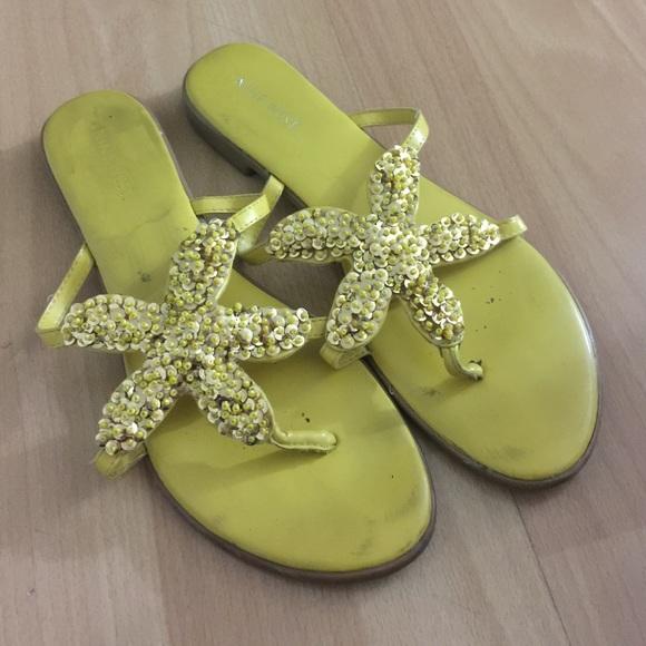 e530404c89 Nine West Yellow Sequin Starfish Flat Sandals, 8