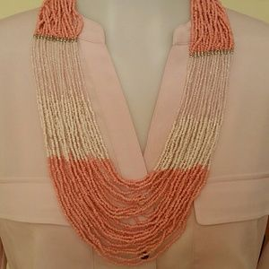 Jewelry - Coral and Cream Seedbead Necklace