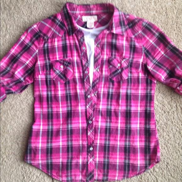 65ccc0e0 Op Tops | Pink Black Plaid Button Down Shirt | Poshmark