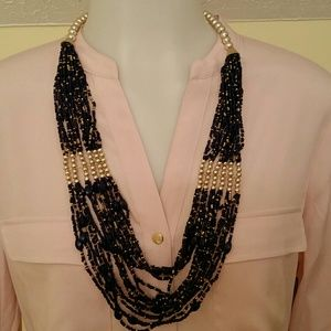 Jewelry - Navy & Gold Seedbead Necklace