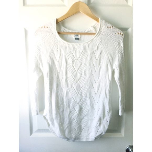 77% off Old Navy Sweaters - White eyelet cutout summer sweater ...