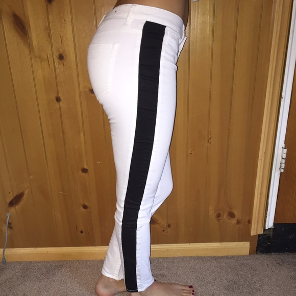 Forever 21 Jeans White Pants With Black Stripe Down The