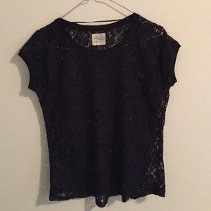Zara TRF lace tee in black