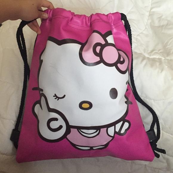 Hello Kitty Big Drawstring Bag Bucket Bag NWOT 9ebc1eec79cb4