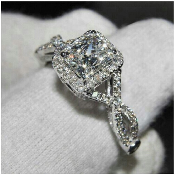 82 off Victoria Wieck Jewelry Princess Cut White Topaz Halo 925