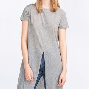 Zara Tops - Zara Gray Long Open Vent Tee
