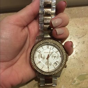 Micheal Kors Rose Gold and Clear Acrylic watch