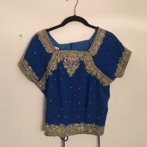 Beautiful beaded top size 42 blue with beads