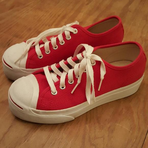 Converse Shoes - Converse Jack Purcell Red Platform Sneakers d03d7ba18