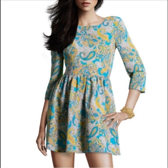 Yellow and blue paisley dress