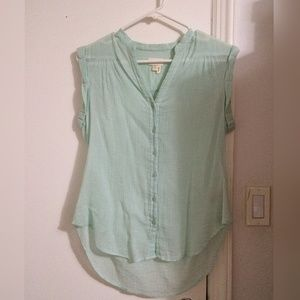 Anthropologie Tops - Button down top in pastel green color