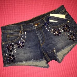 Juicy Couture Pants - Juicy Couture Embellished Denim Shorts