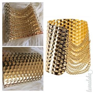 T&J Designs Jewelry - Beautiful Gold Plated Hammered Cuff w/ Chains