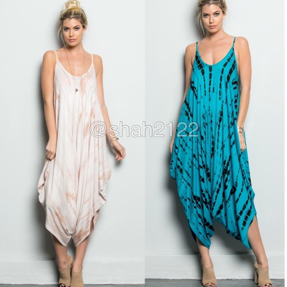 Boutique Pants Tie Dye Dress Jumpsuit Romper Harem Boho Chic New