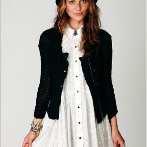 Free People Lace Zip Jacket (Black, Size S)